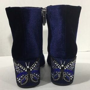 Lilly Edelman Shoes - Lilly Edelman Blue Jeweled Butterfly Velour Boots